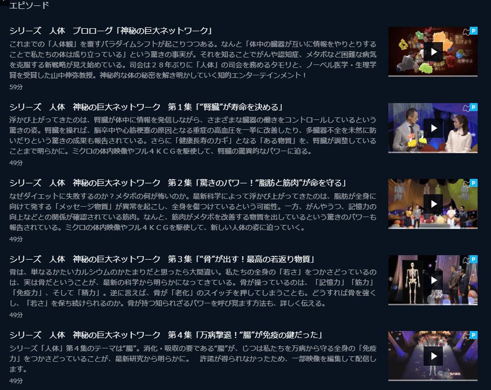 U-NEXT NHKスペシャル「人体シリーズ」キャプチャ,画像
