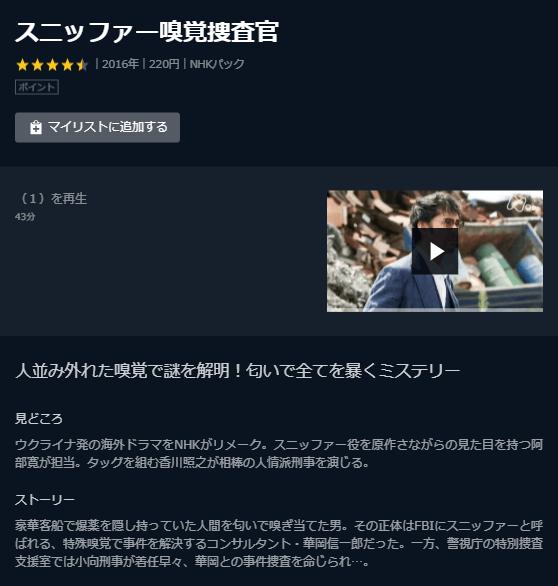 U-NEXT「スニッファー嗅覚捜査官」キャプチャ,画像