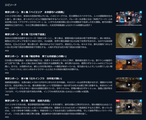 NHKスペシャル「東京リボーン」シリーズU-NEXTキャプチャ,画像