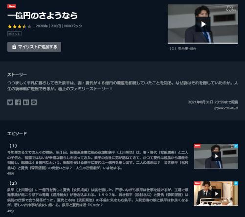 U-NEXT「一億円のさようなら」キャプチャ,画像