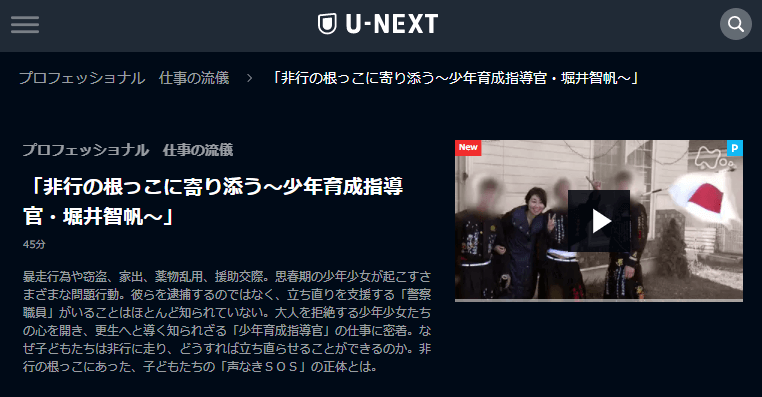 U-NEXTプロフェッショナル仕事の流儀「堀井智帆」キャプチャ,画像